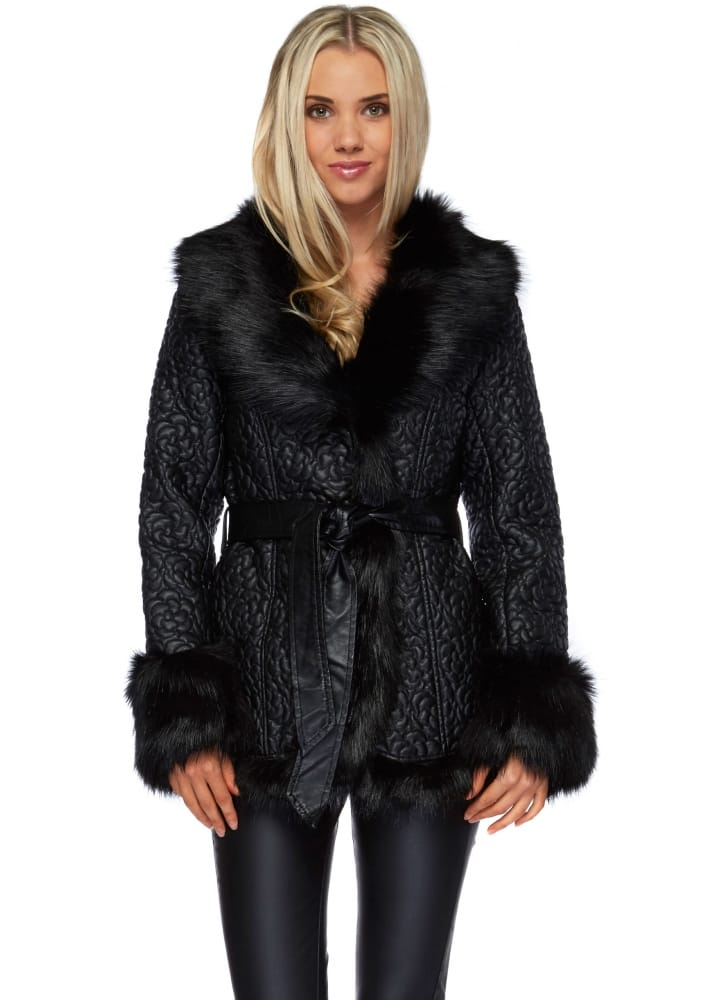 Black Leather Jacket  Black Leather Faux Fur Jacket