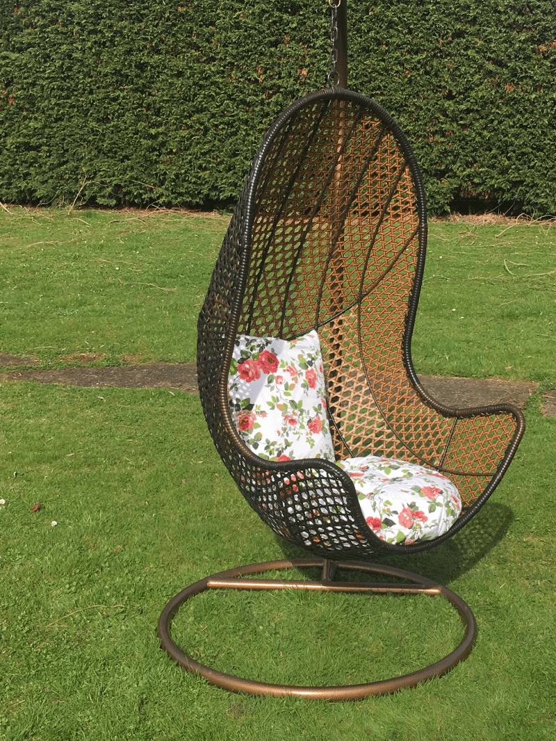 garden egg chair covers roman back extension muscles patio hanging rattan swing seat comfortable cushion relax