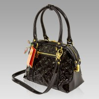 Marino Orlandi Designer Black Patent Monogram Leather ...