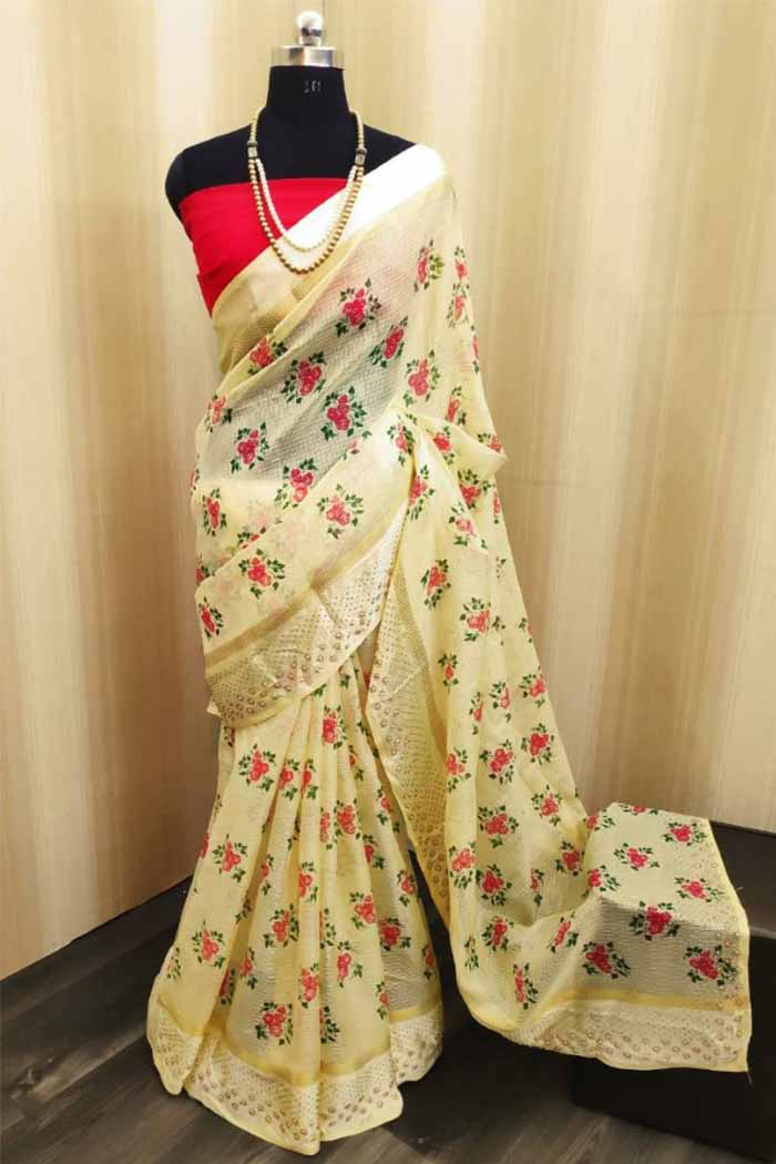 Kota doriya saree with diamond work