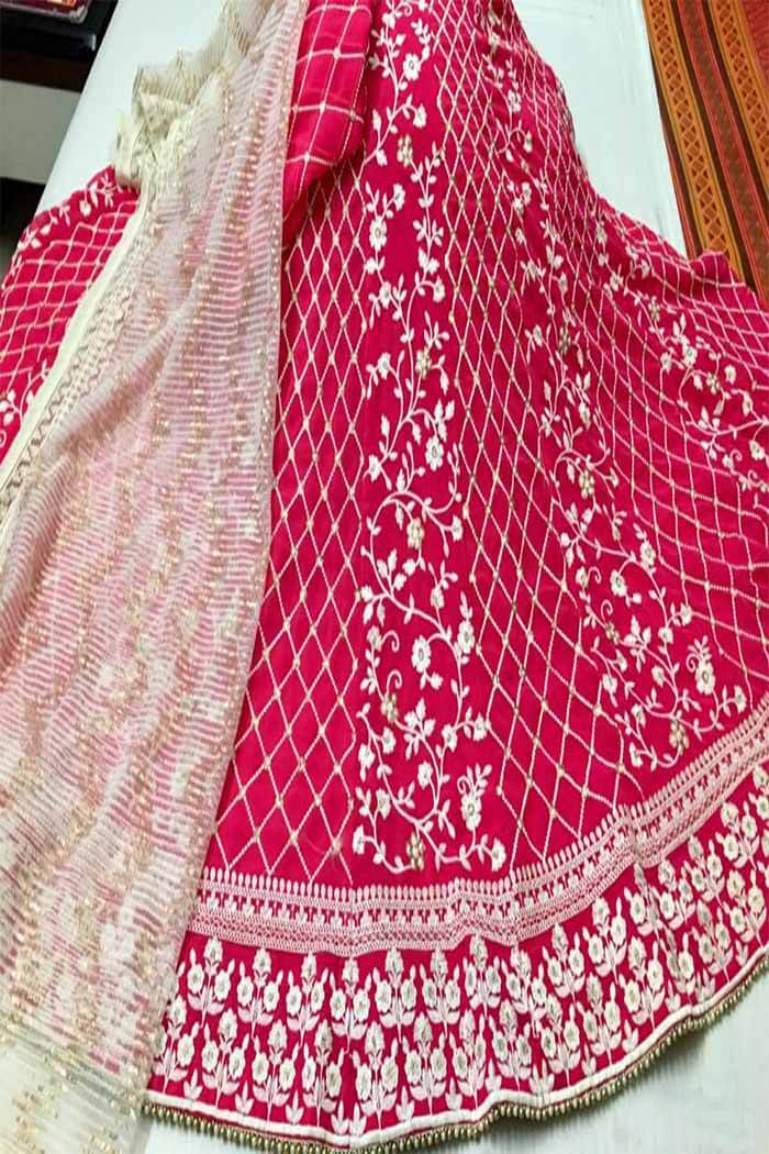 Pink thread work lehenga
