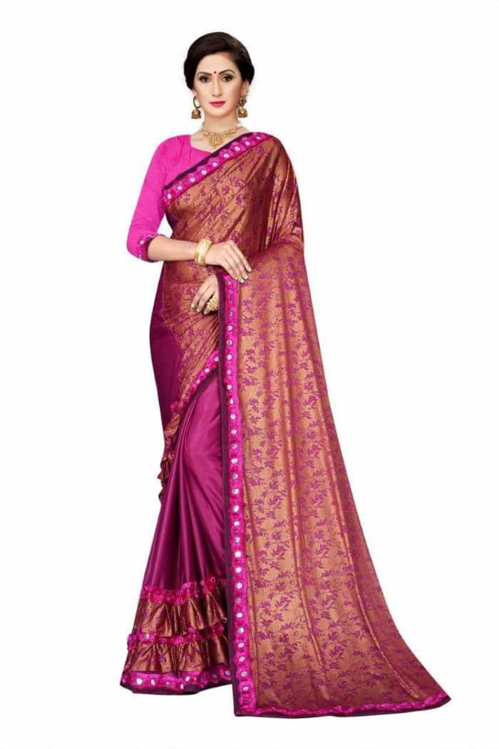 Heavy Super Malai Lycra Ruffle Saree