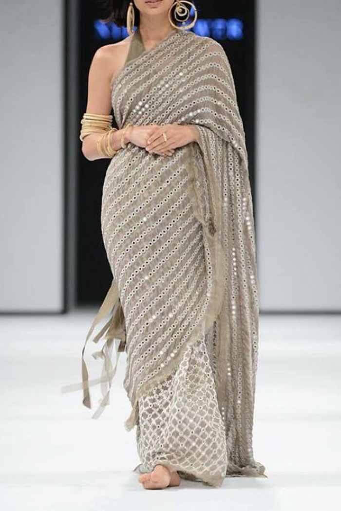 Mirror Work Saree-Nsr05