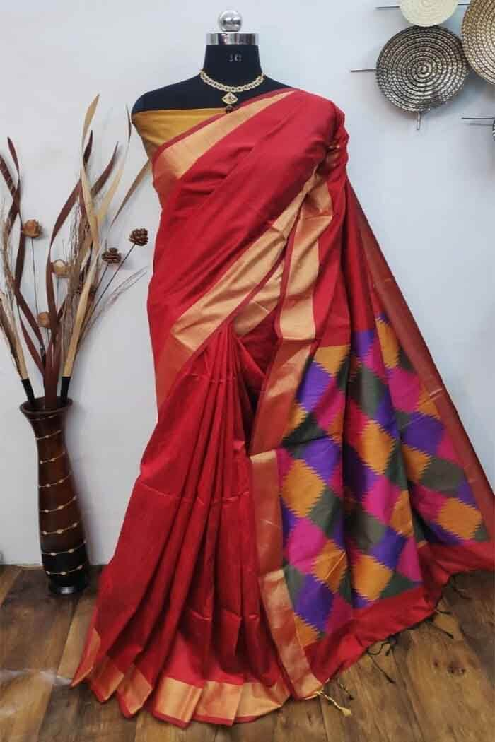 Ikkat Raw silk saree-isha06a