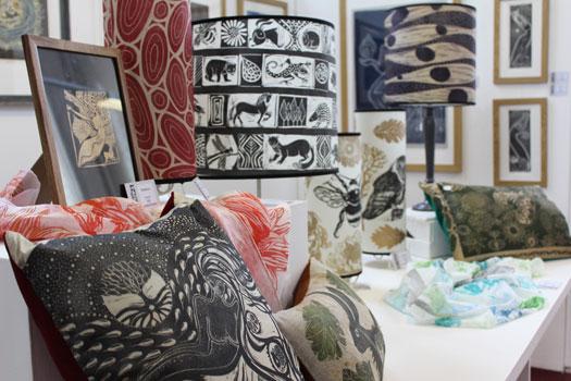 Hand printed cushions and shades