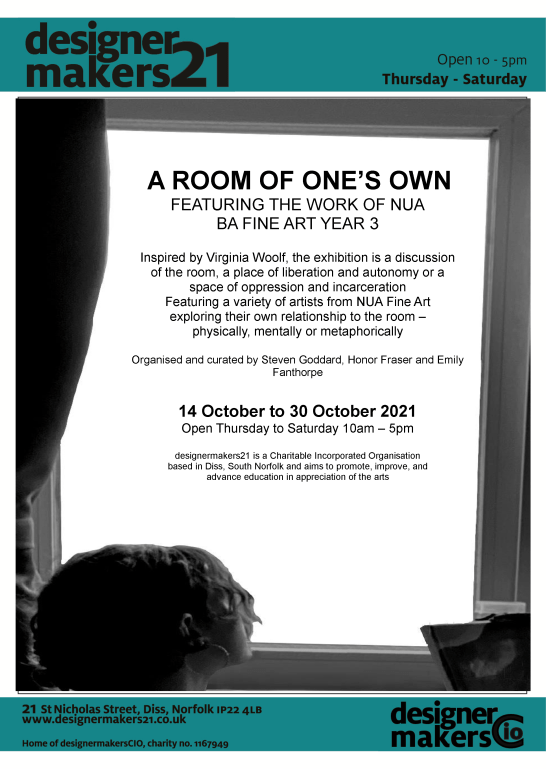 exhibition poster for 'A Room of One's Own' Fine Art student exhibition at designermakers21 14th-30th Nov 2021