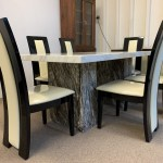 Brisbane Grey And Cream 180cm Marble Table With 6x Black Straightback Chairs Designer Marble