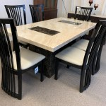 Brisbane Brown And Beige 180cm Marble Table With 6x Black Curveback Chairs Designer Marble