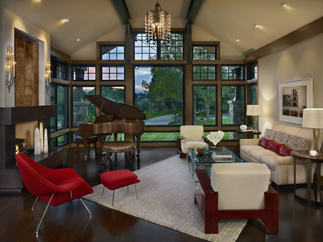greg, Greg Comstock, comstock design, living room with high ceilings and open beams