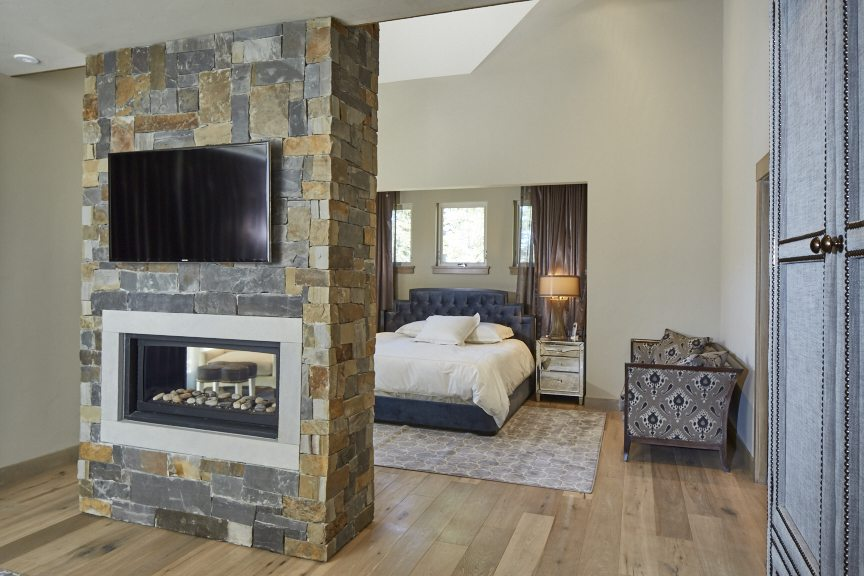 greg, Greg Comstock, comstock design, master Bedroom in Winter Park with two sided fireplace