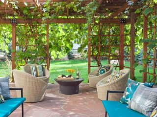 outdoor furniture in bright blues