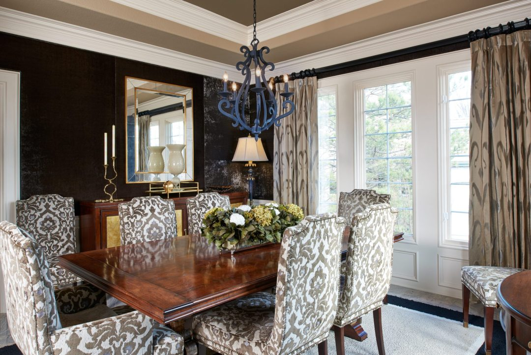 dining room with geometric patterns