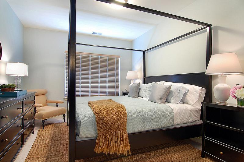 Lenore Callahan Interior design, bedroom, black canapy bed