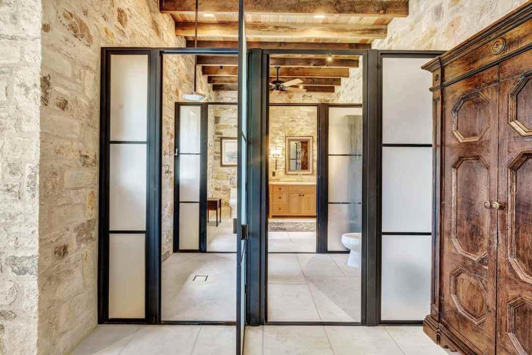 Doss Texas Custom Home master bath entry doors lenore 2
