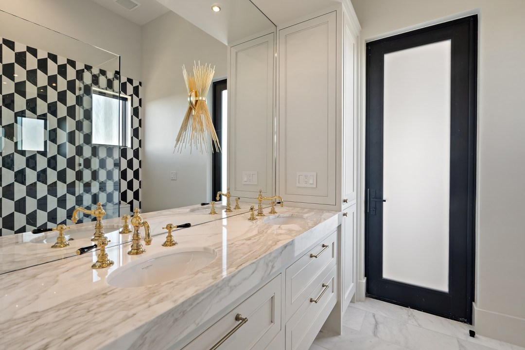 Lenore, lake austin, contemporary home, bath, gold
