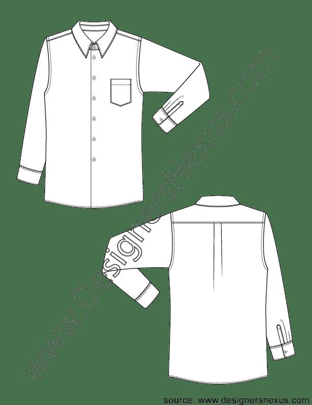Classic Mens Dress Shirt V1 Fashion Technical Drawing