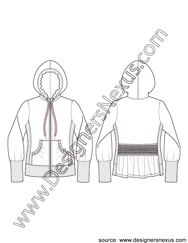 Jacket Flat Sketch V1 of Zip Front Hoodie with Back