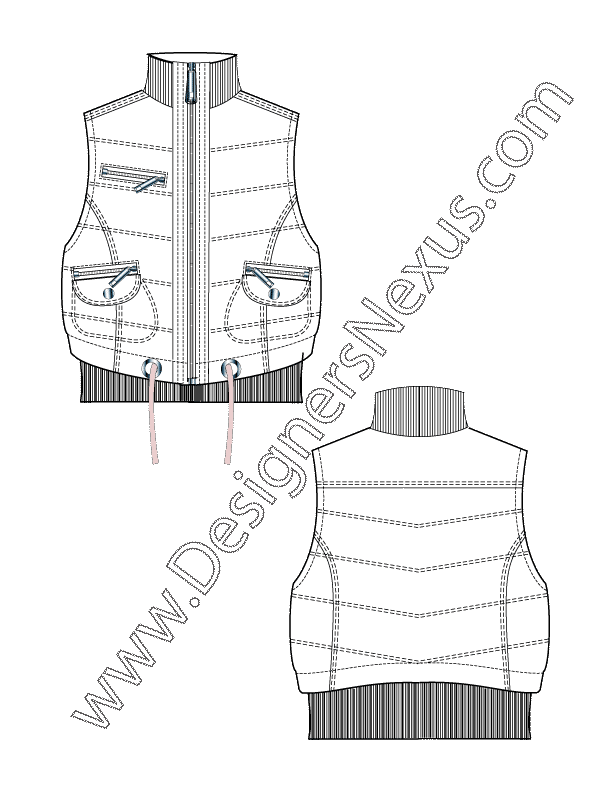 Flat Sketch V2 Zipper Front Puffer Vest with Ribbed Funnel