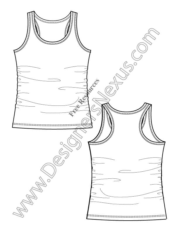 V6 Racerback Tank Knit Fashion Flat Sketch Templates