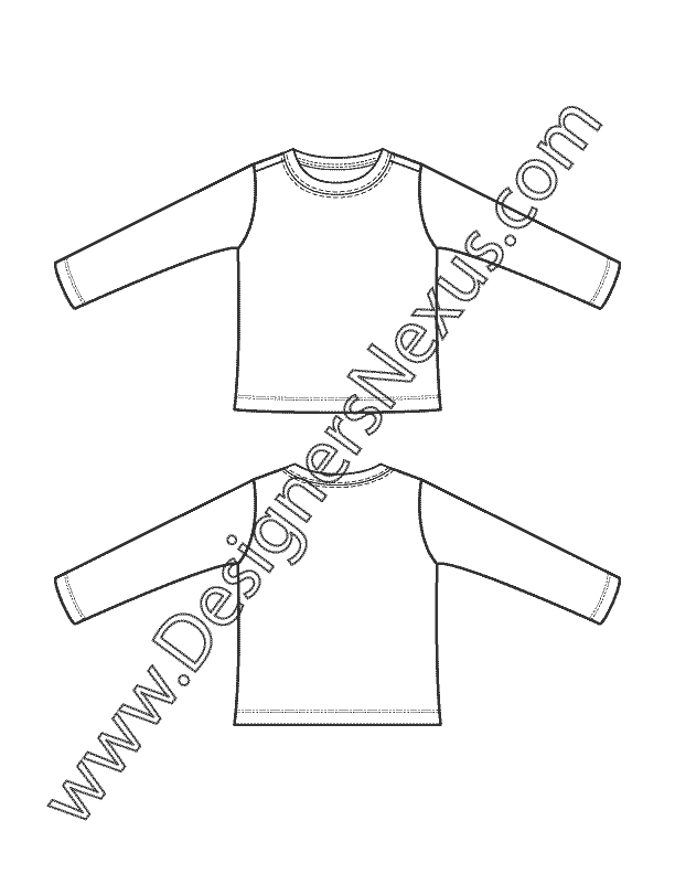 Childrens Apparel Flat Sketch: Newborn-Infant Baby Long