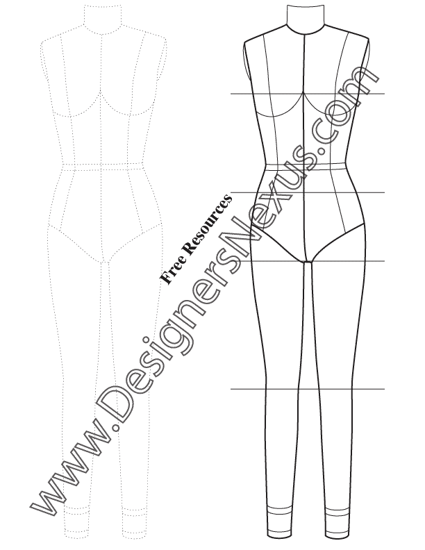 Free Figure Templates for Technical Flat Drawing