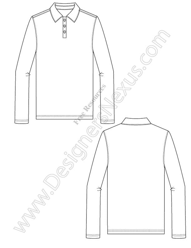 V10 Mens Long Sleeve Polo Fashion Technical Flat Sketch
