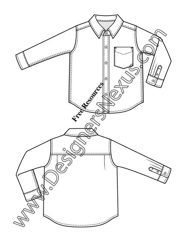 Toddler / Infant Button-up Shirt V13 Kids Apparel Flat