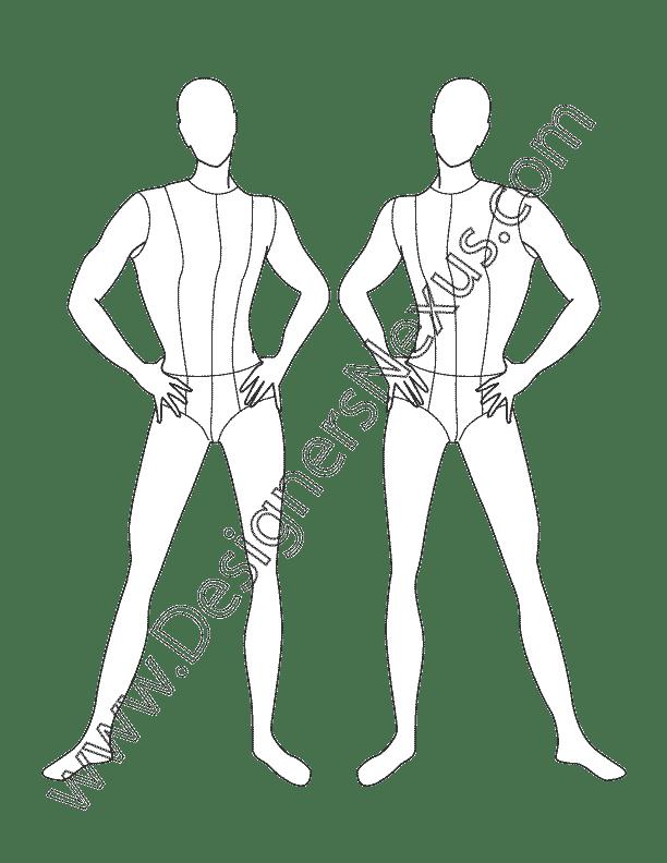 Mens Fashion Croqui Template V15 Front, Partial Three