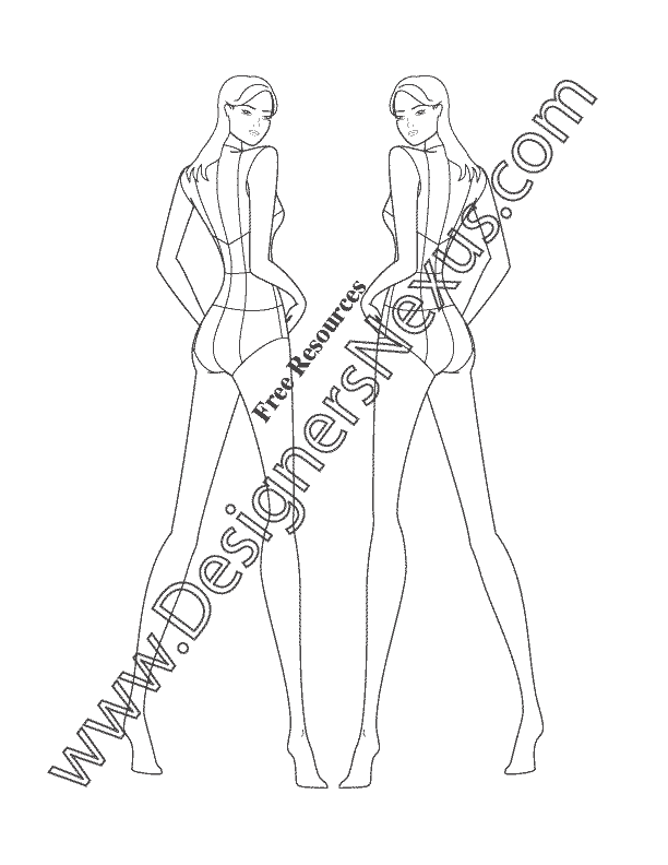 Female Fashion Figure Back View Croqui Template V17