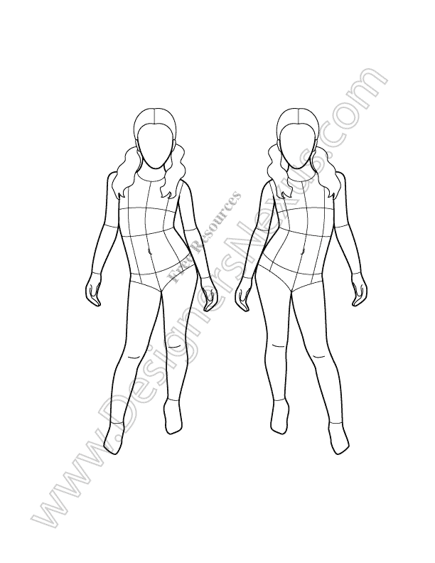Fashion model templates front and back