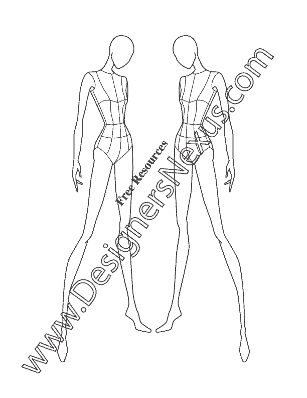 Female Fashion Pose V20 Three-Quarter Front View Croqui