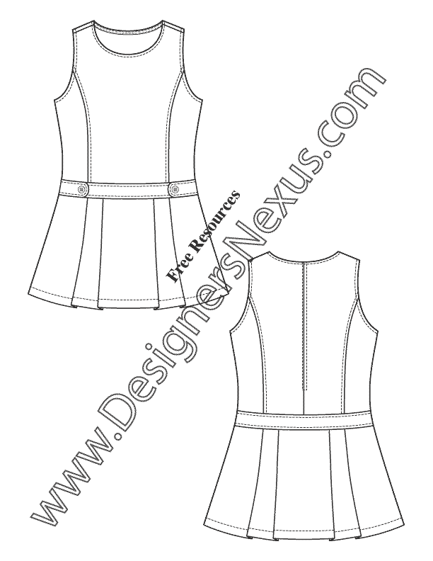 V27 Girls Dress Flat Fashion Sketch for Childrenswear