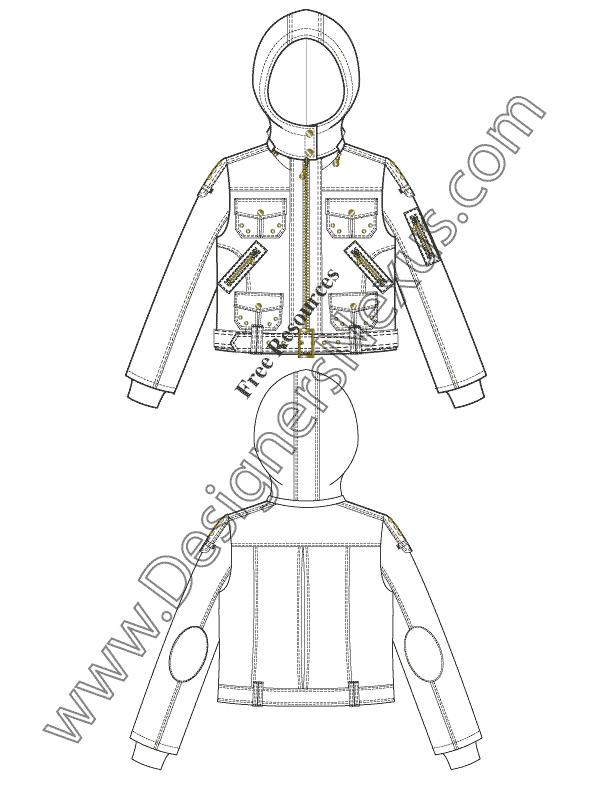 V31 Jacket Free Illustrator Flat Fashion Sketch Template