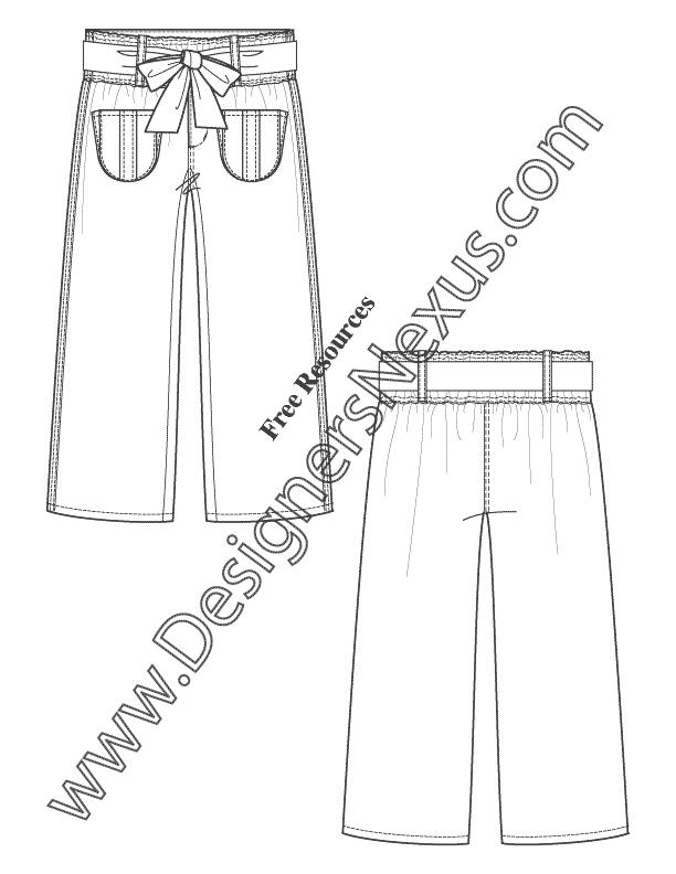 Paperbag Waist Pants V34 Flat Fashion Sketch Template