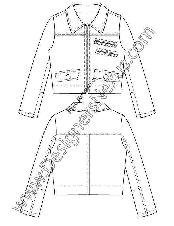 V34 Jacket Vector Drawing Illustrator Flat Fashion Sketch