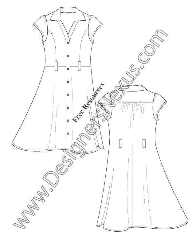V43 Button-Front Shirtdress Illustrator Flats Fashion Template