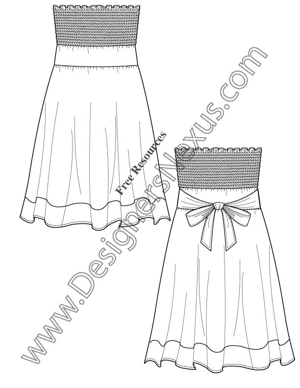 V46 Strapless Smocked Sundress Flat Fashion Sketch Dress