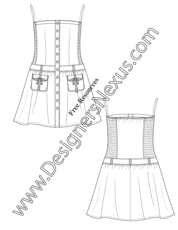 Strapless Dress with Smocked Side Panels V65 Illustrator