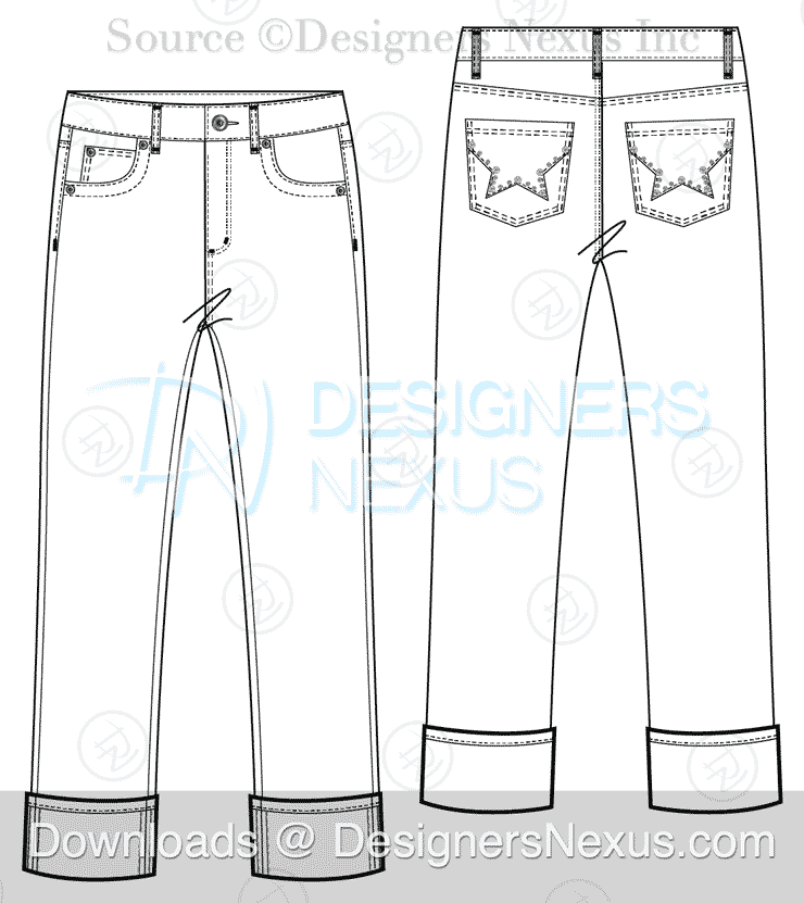 Free Downloads: Illustrator Pants Flat Sketches