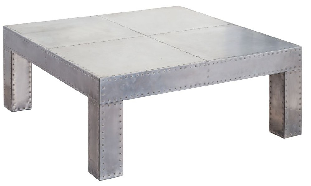 aviator aluminium large square coffee table