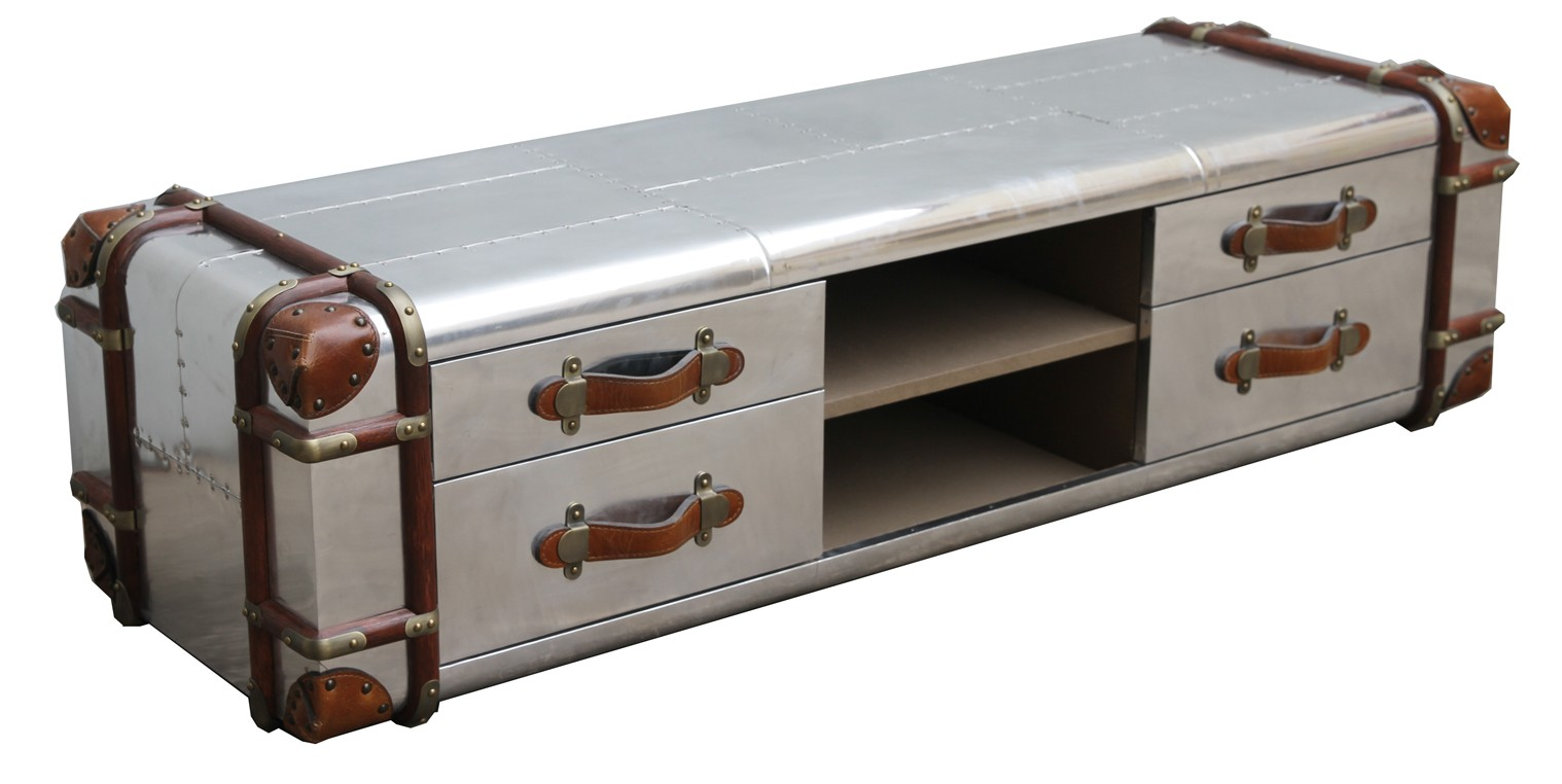 aviator aluminium vintage coffee table 4 drawer