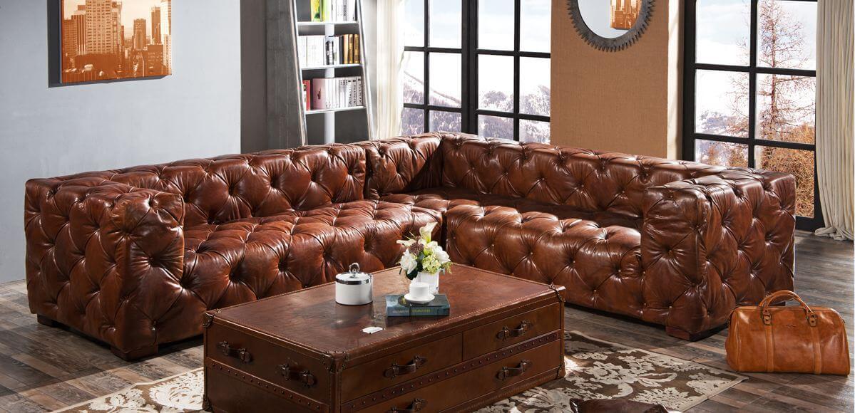 distressed leather corner sofa uk skyler mid century modern style linen sleeper futon chesterfield buttoned vintage designer sofas 4u