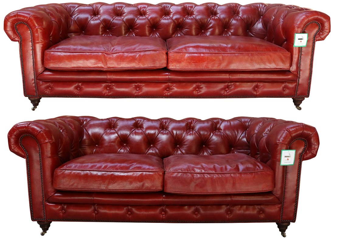 Vintage 3 2 Distressed Rouge Red Leather Chesterfield Sofa Suite Vintage Furniture By Designer Sofas For You