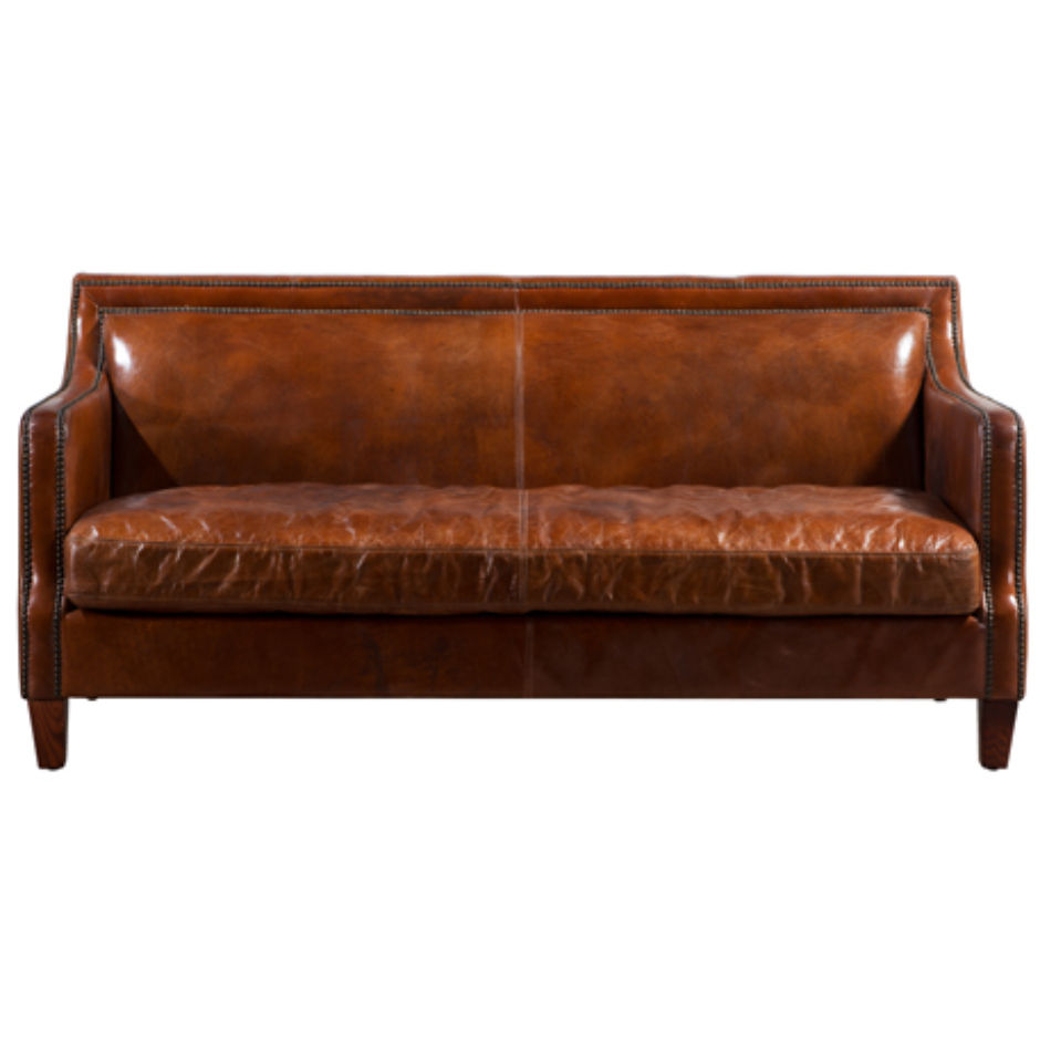 brown leather studded sofa kuka reclining reviews chichester vintage distressed 3 seater stud designer