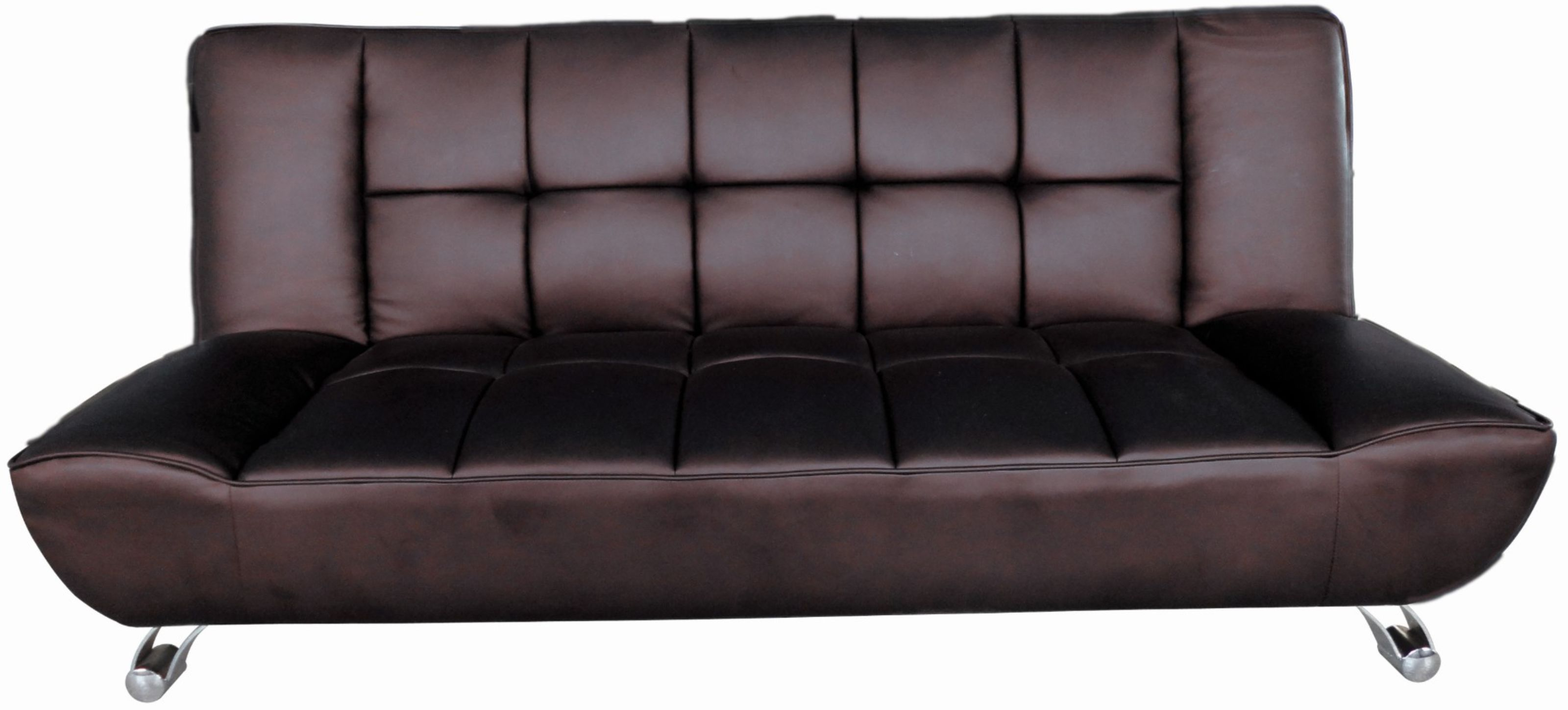 agata brown faux leather sofa bed with curved chrome finish legs