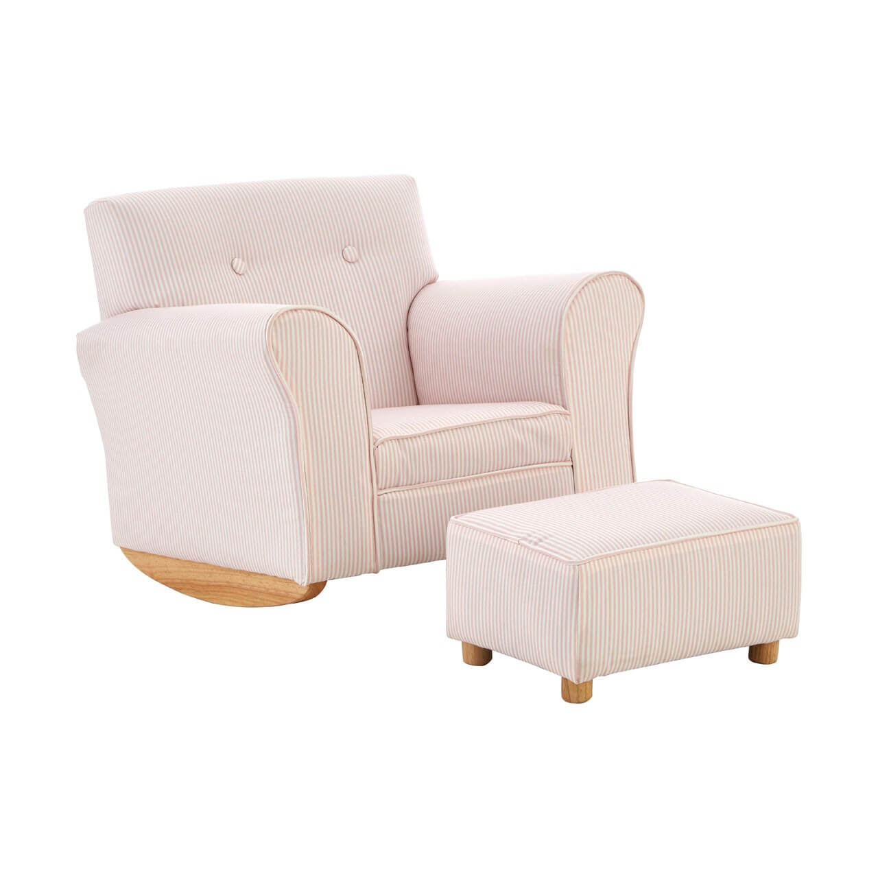 Olivia Kids Pink And White Stripe Fabric Rocker Chair With Footstool Designer Sofas 4u