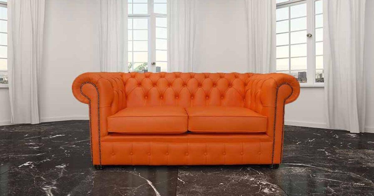 Buy orange leather Chesterfield sofa at DesignerSofas4U