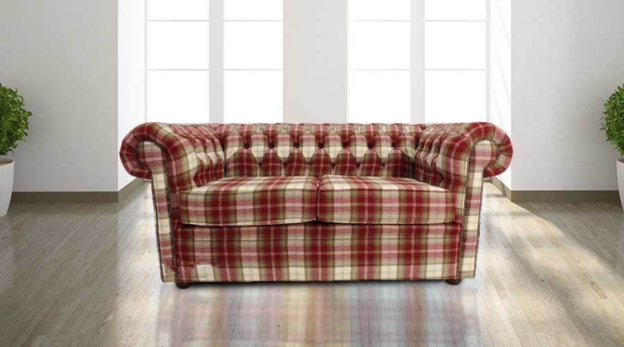 tartan chesterfield sofa bed sets 3 2 buy red wool at designersofas4u