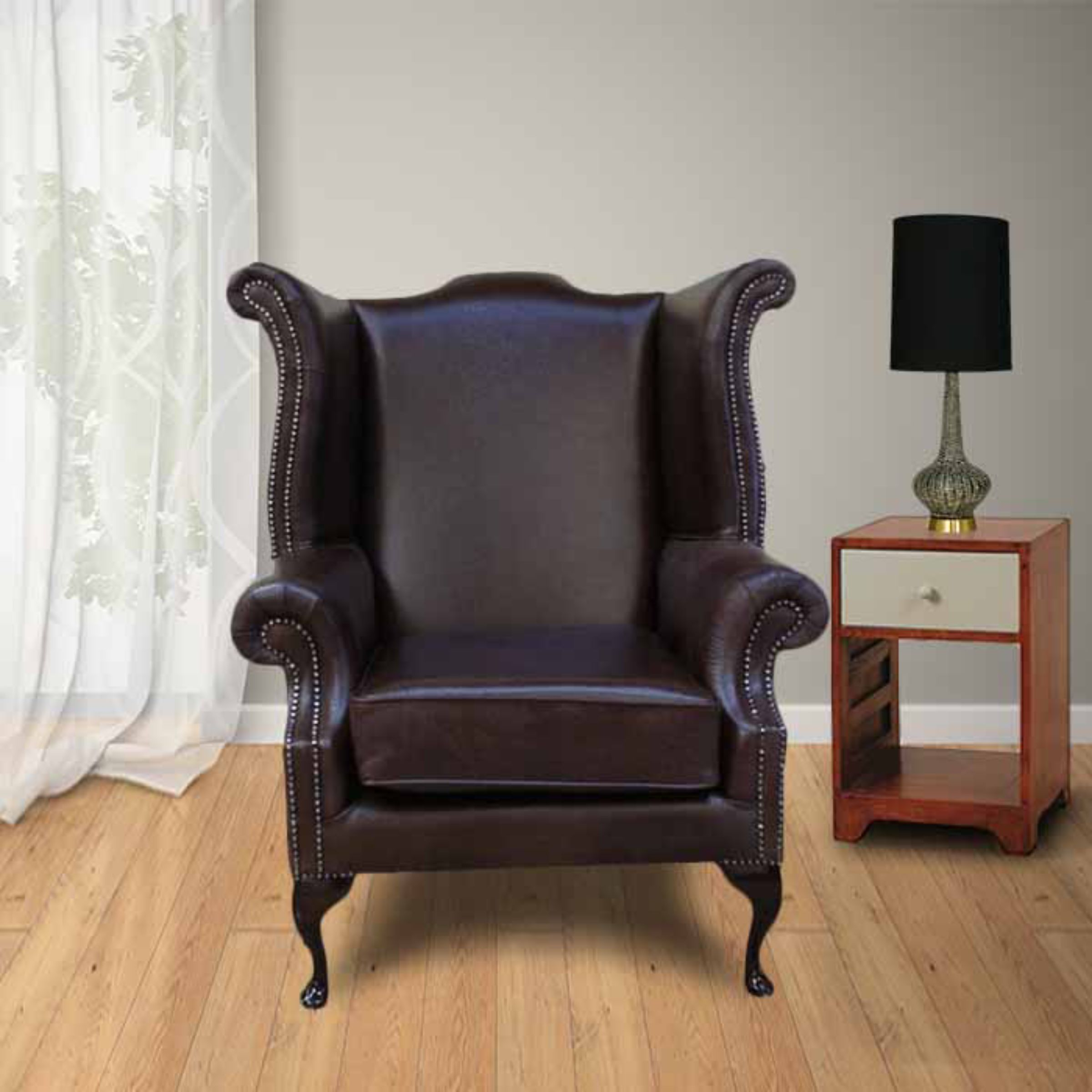 high back chairs uk only wood computer chair red cavendish scroll wing designersofas4u