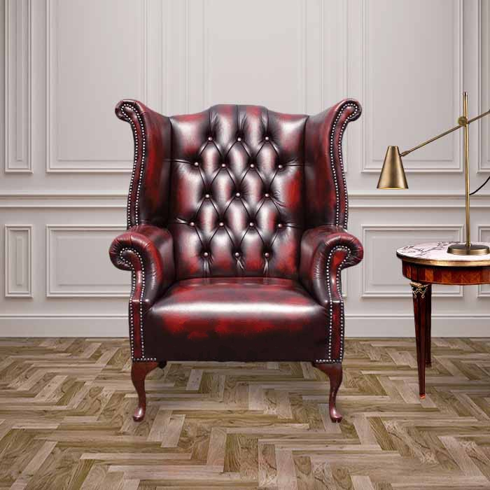 queen anne wingback chair leather kidkraft doll high and crib antique red oxblood chesterfield back wing sale 1780 s uk manufactured
